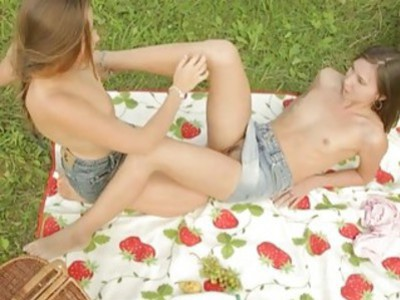 Two lesbians enjoying outdoor picnic and their sweet pussies