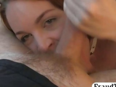 Redhead chick gets fucked by fake driver in the backseat