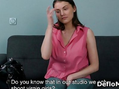 Teen undresses at casting and reveals pussy with hymen