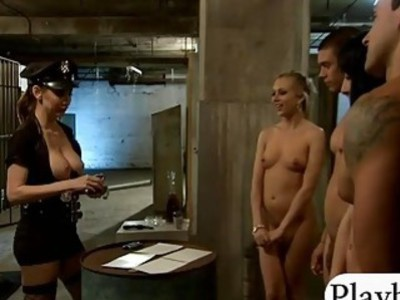 Kinky women hot foursome in the jailcell with two hoorny men