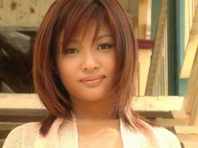 Brownhead Japanese babe Kana Tsugihara shows off her tiny body wearing golden colour bikini