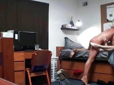 College Blonde Riding Her Boyfrined In Her Dorm Room