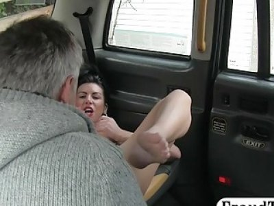 Nasty lady anal pounded by horny driver in the backseat