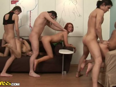 Three rapacious dude drill hard shaved twats of Russian hussies simultaneously
