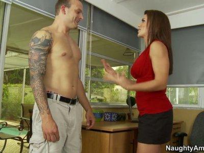 Gorgeous brunette Leena Sky flirts with tattooed guy