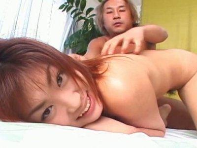 Mesmerizing Japanese chic Rui Misato gets her hairy punani eaten in doggy style