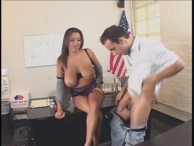 Horny office slut Alexis Silver sucks co-worker's dick at work