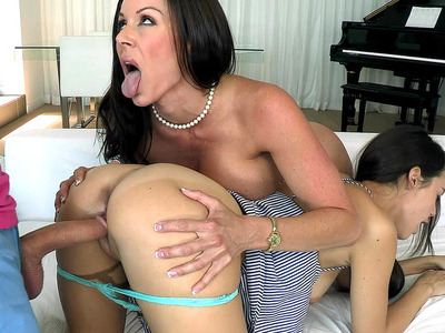 Kendra Lust made her stepdaughter Dillion Harper fuck that dick as she watched