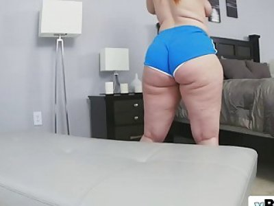 White brunette girl with incredibly large butt rides big black penis wild