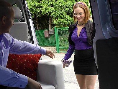 Chubby redhead seduced on the backseat