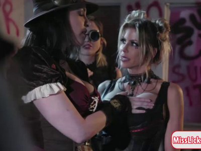 Georgia and Abigail fuck android Alexis