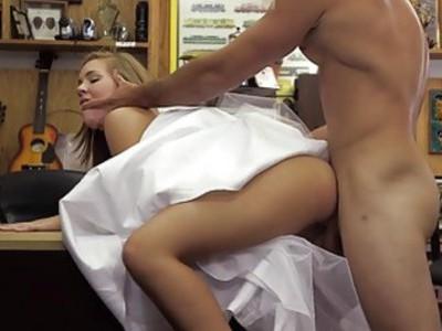 Hot babe pawns wedding dress and banged