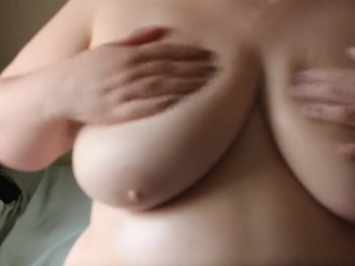 Lotion on my big breasts (silent)