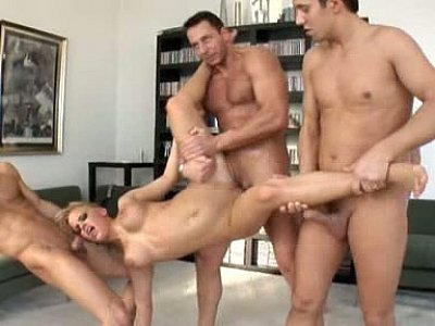 Big titted blondie gets gangbanged by 5