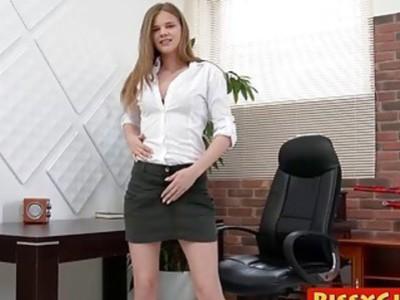 Sexy secretary sprays her juices all over the office floor