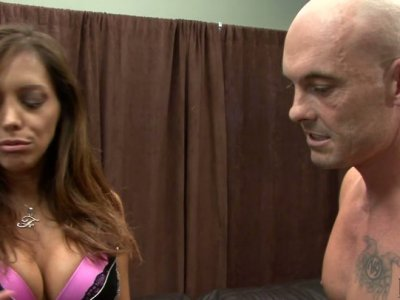 Emotional and horn-mad Francesca Le gets banged doggy on the leather couch