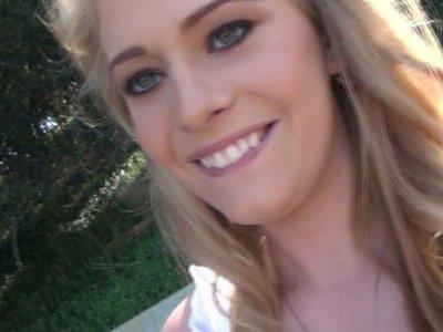 Sexy blonde bitch Allie James videotapes herself masturbating in a bath