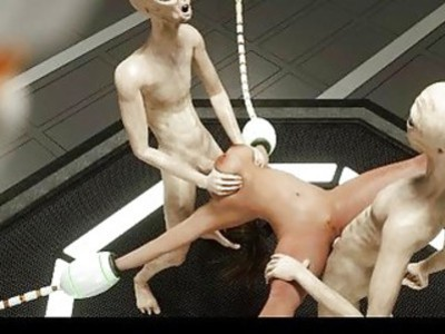 3D Babe Brutally Gangbanged by Aliens!