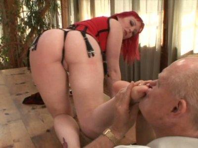 Mature guy eats sexy milf Miss Bunny and sucks her feet
