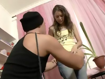 Hot teen Mila gets her face slapped with huge cock