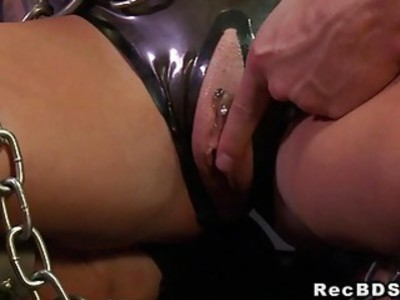 Chained big boobs sub gets fucked till cumshot