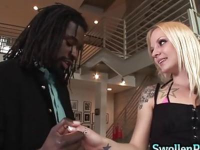 Tattoo blonde gets her big dick
