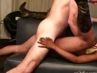 Unbelievably sexy hairy ebony slut mounts a long hard dick